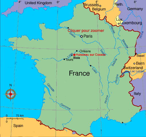 carte des chateaux de france Les Basses Landes,gîte rural de charme, remise en forme, Chambord
